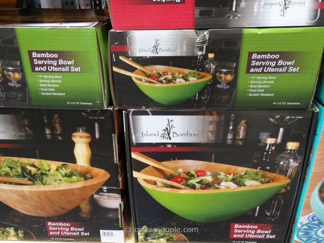 Island Bamboo Bowl with Serving Utensils Costco 1