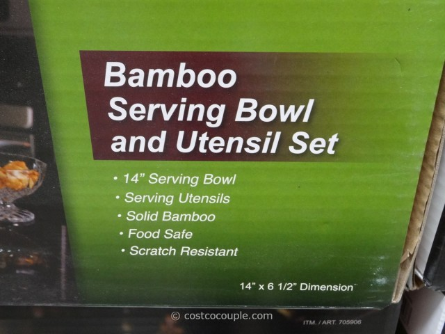Island Bamboo Bowl with Serving Utensils Costco 2
