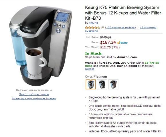 Keurig K75 Single Cup Brewing System Amazon
