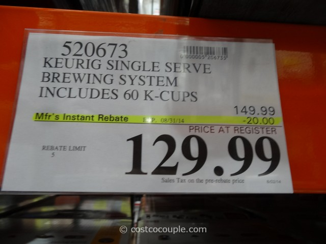Keurig Single Serve Brewing System Costco