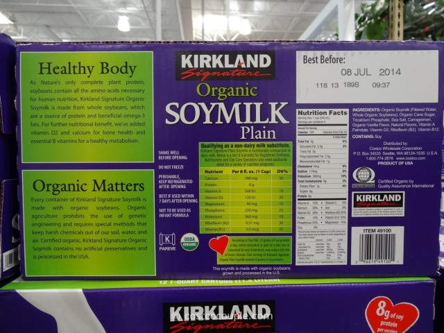 Kirkland Signature Organic Plain Soy Milk Costco 4