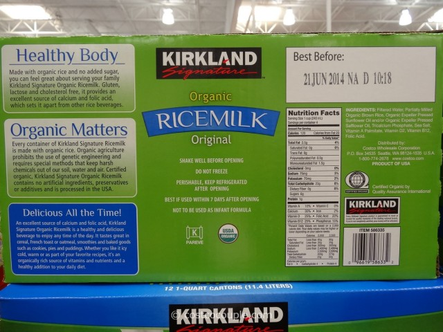 Kirkland Signature Organic Rice Milk Costco 3