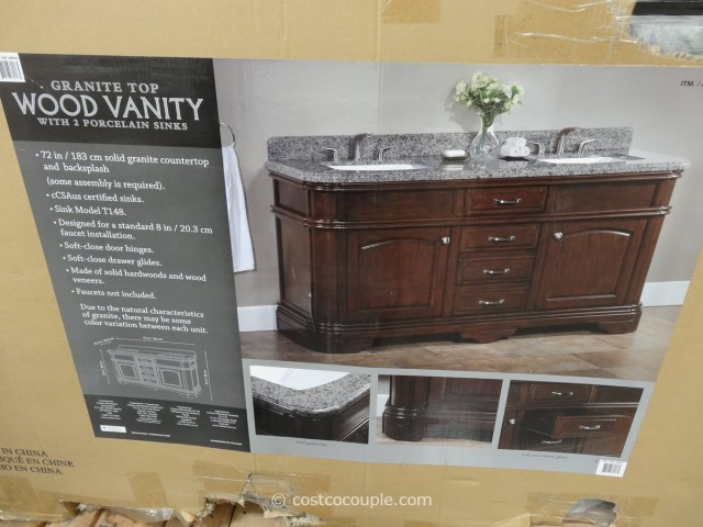 lanza 72 inch double sink vanity with granite top. Black Bedroom Furniture Sets. Home Design Ideas