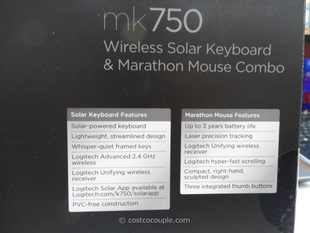 Logitech Wireless Solar Keyboard and Mouse mk750 Costco 4