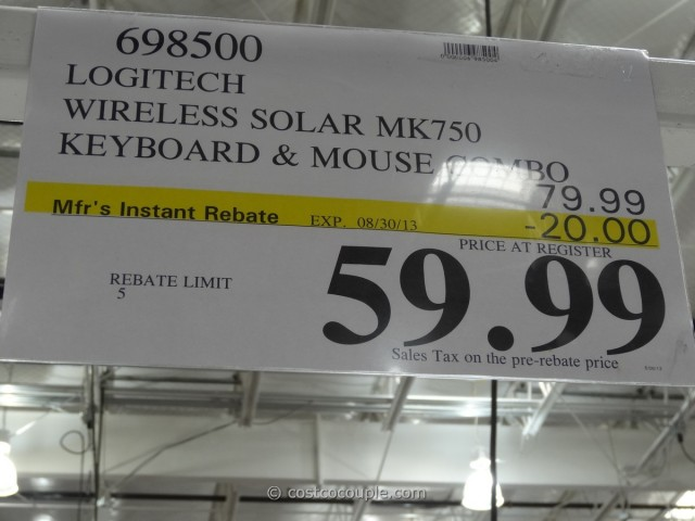 Logitech Wireless Solar Keyboard and Mouse mk750 Costco 6