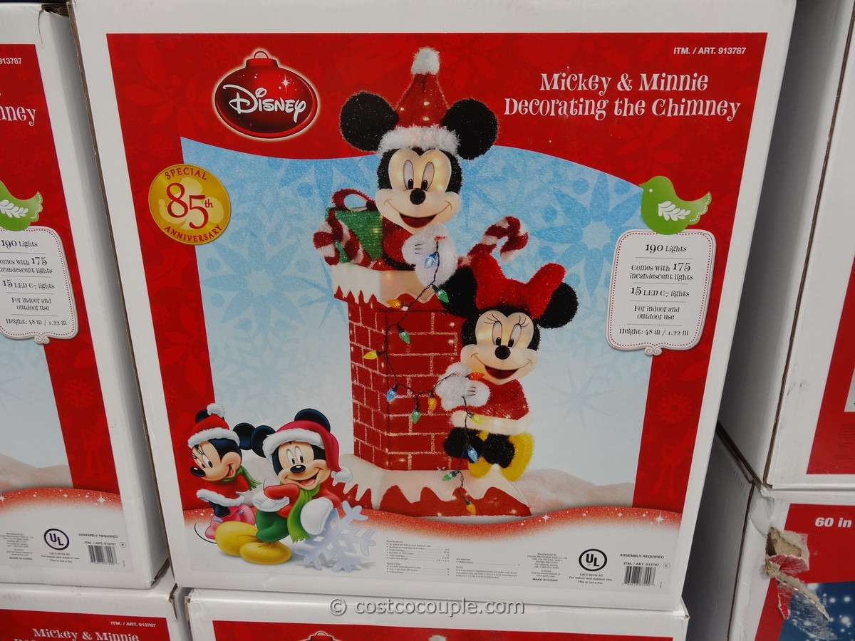 mickey and minnie decorating the chimney - Mickey Christmas Decorations