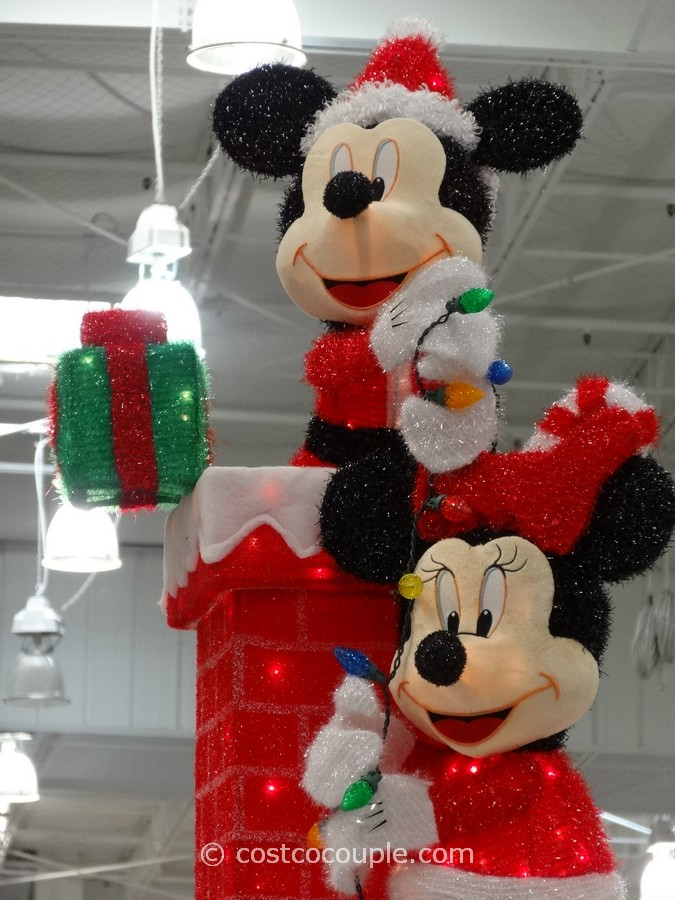 mickey and minnie decorating the chimney costco 6 - Mickey Mouse Christmas Lawn Decorations