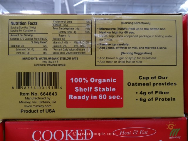 Minsley Organic Steel Cut Oats Costco 3
