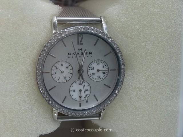 Skagen Ladies Mesh Silver Dial Watch Costco 3