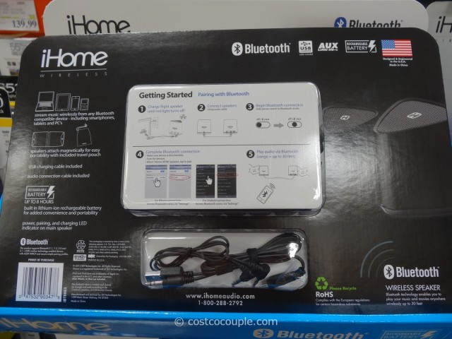 iHOme Bluetooth Rechargeable Mini Speaker System Costco 4