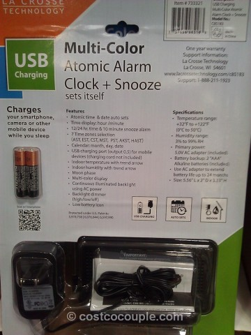 La Crosse Color LCD Alarm Clock Costco 2