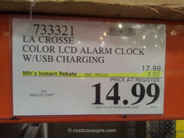 La Crosse Color LCD Alarm Clock Costco 4