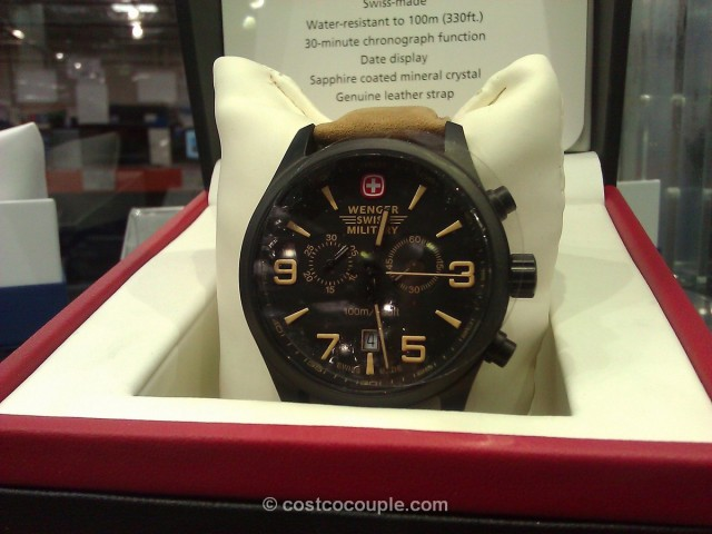 Wenger Swiss Military Men's Black Chronograph Brown Leather Costco 1