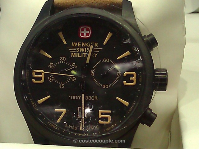 Wenger Swiss Military Men's Black Chronograph Brown Leather Costco 3