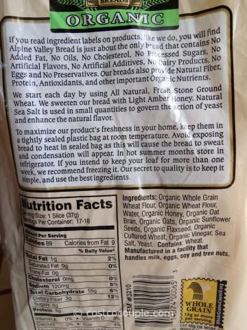 Alpine Valley Organic Bread Costco 2