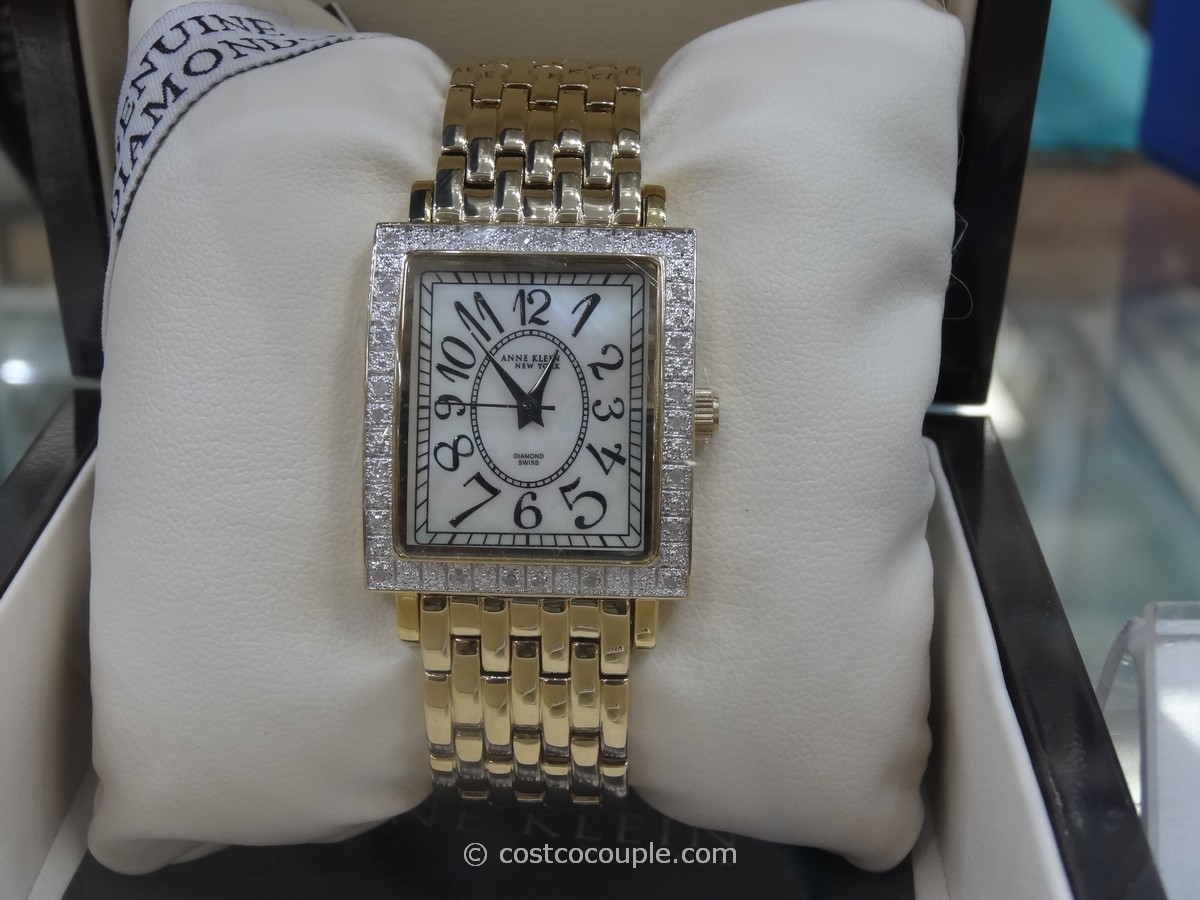 Anne Klein Ladies Diamond Bezel Gold Tone Watch Costco