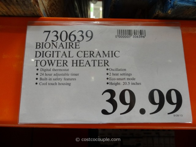 Bionaire Digital Ceramic Tower Heater Costco 4