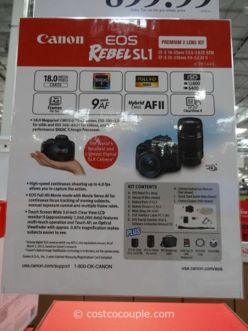 Canon EOS Rebel SL1 DSLR Kit Costco 4