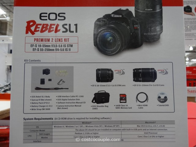 Canon EOS Rebel SL1 DSLR Kit Costco 7