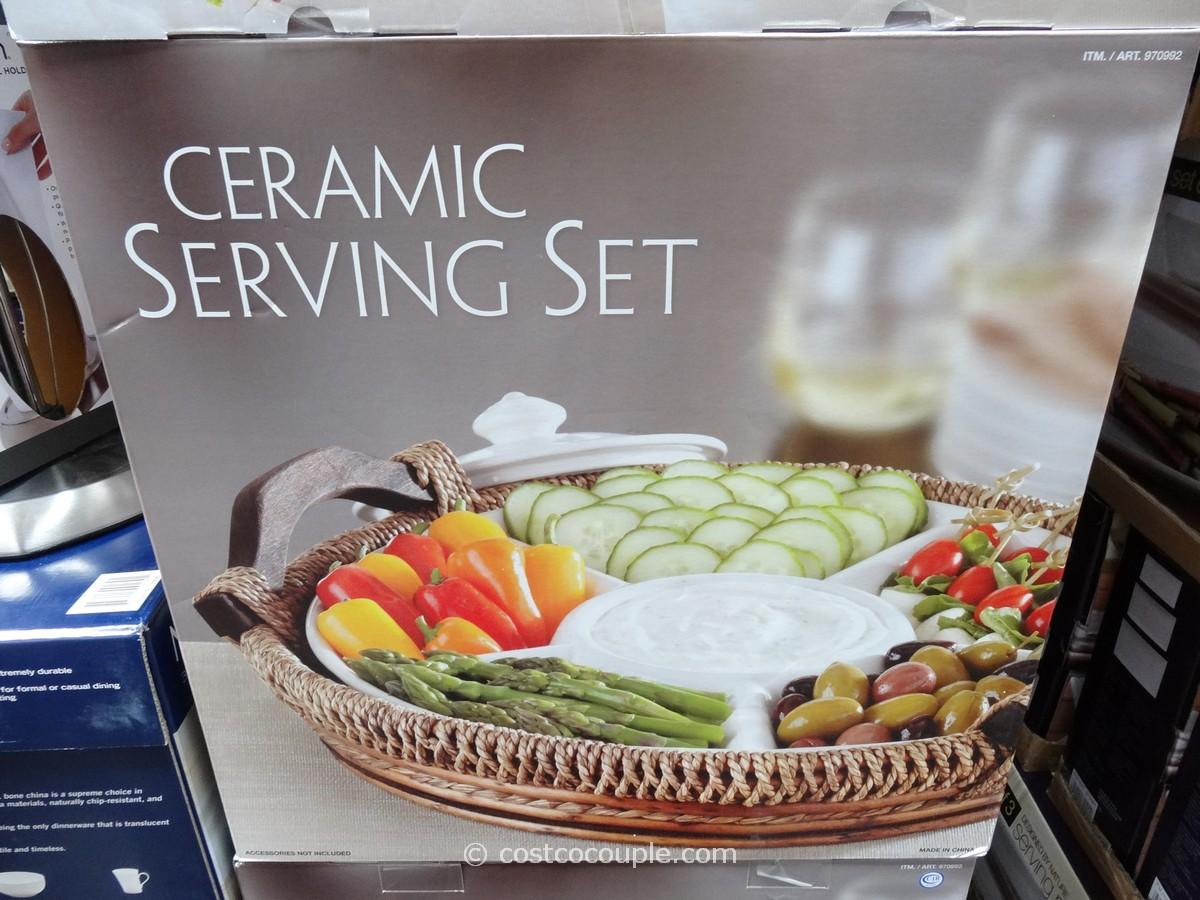 Ceramic Serving Set With Basket