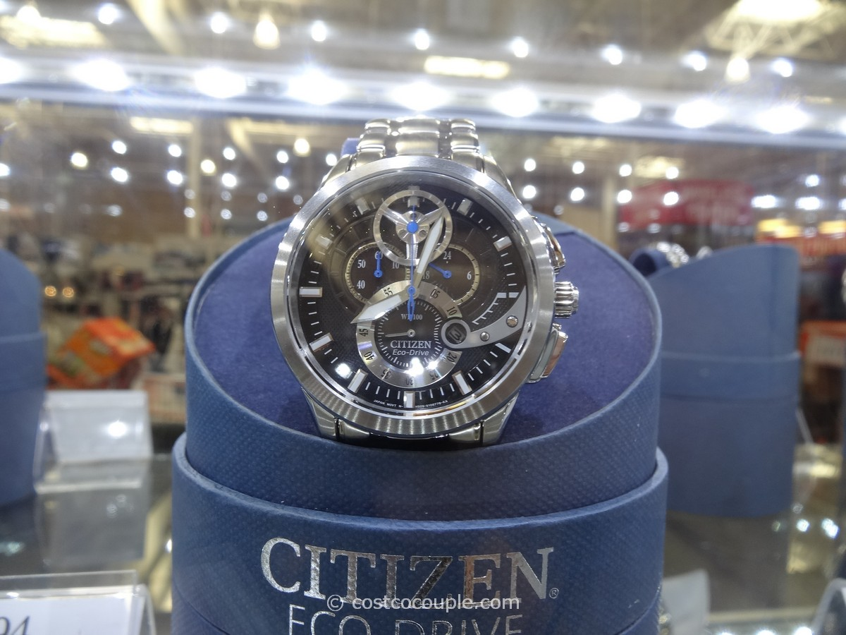 Citizen EcoDrive Black Chronograph Stainless Steel Band Costco