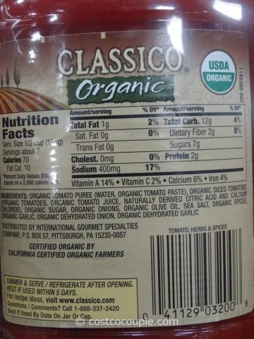Classico Organic Pasta Sauce Costco 2