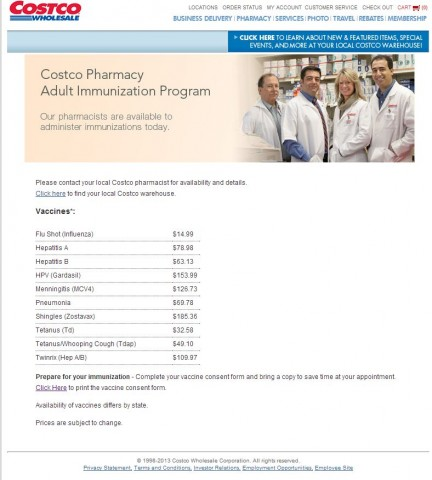 Costco Pharmacy Adult Immunization 2013