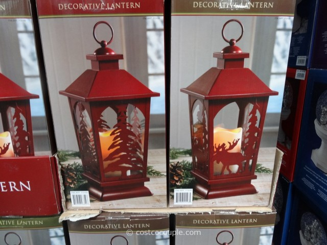 Decorative Lantern with Flickering LED Candle Costco 1