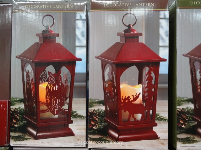 Decorative Lantern with Flickering LED Candle Costco 5