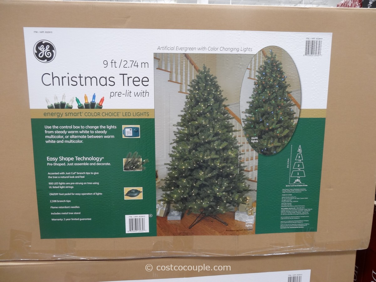 GE 9 Ft Prelit LED Christmas Tree - Artificial Christmas Tree 9 Ft