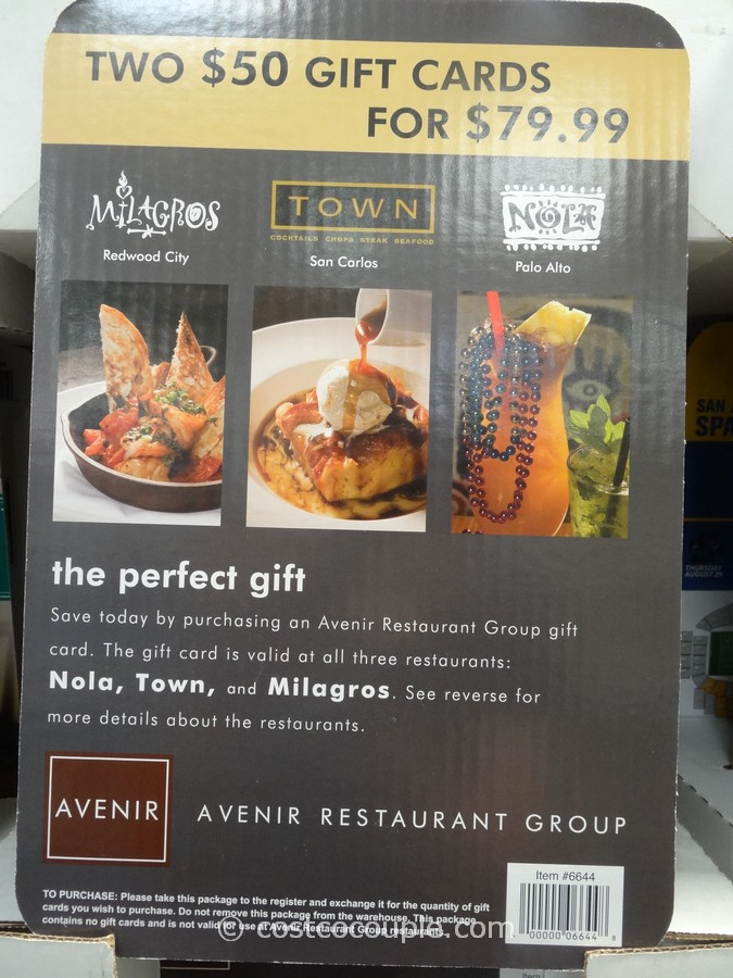 Avenir Restaurant Group (Nola, Town, Milagros) Discount Gift Card