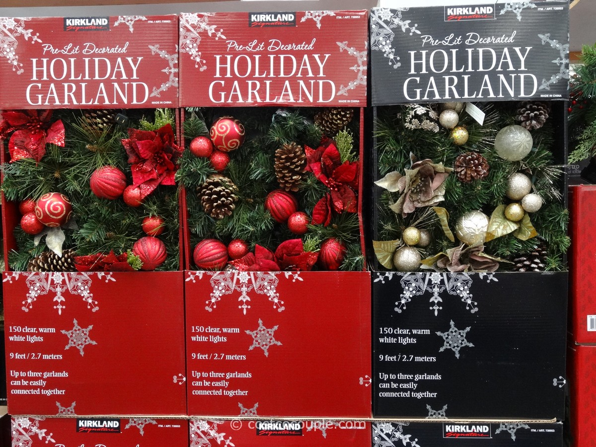 Kirkland signature pre lit decorated holiday garland