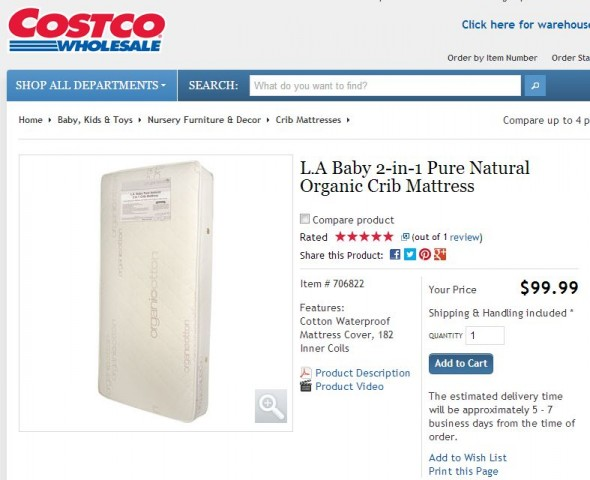 L.A Baby 2-in-1 Pure Natural Organic Crib Mattress Costco