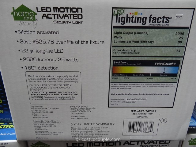 LED Motion Activated Security Light Costco 4