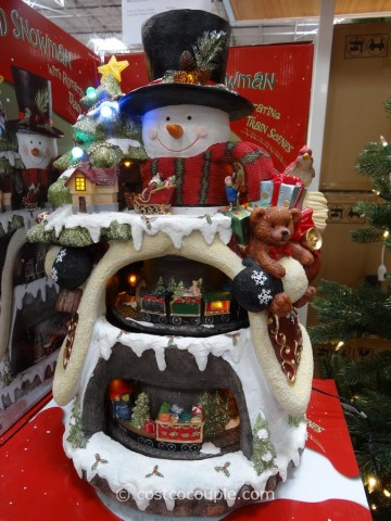 Lighted Snowman with Rotating Train Scenes Costco 1