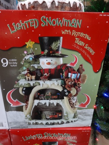 Lighted Snowman with Rotating Train Scenes Costco 2