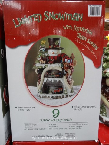 Lighted Snowman with Rotating Train Scenes Costco 3