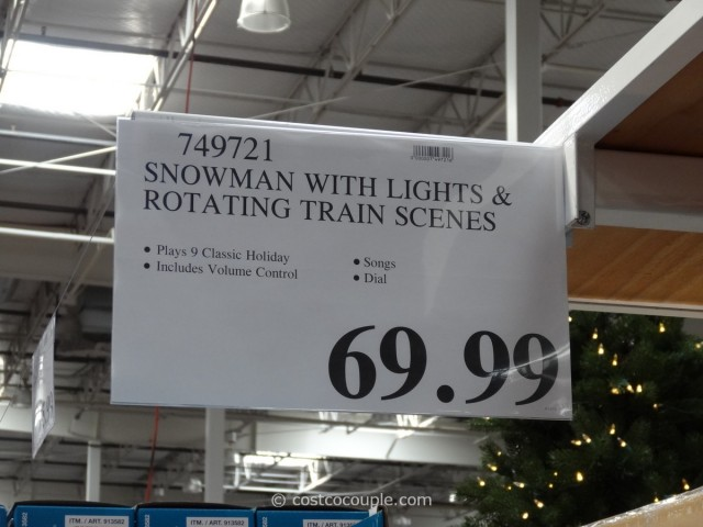 Lighted Snowman with Rotating Train Scenes Costco 4