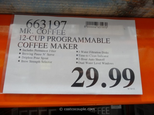 Mr Coffee 12Cup Programmable Coffee Maker Costco 3