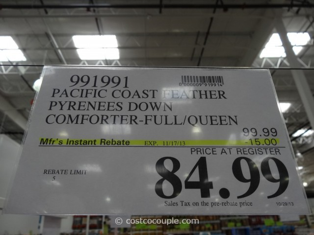 Pacific Coast Down Comforter Full/Queen Costco 1