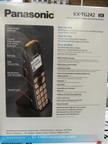 Panasonic Digital Corded and Cordless Answering System Costco 3