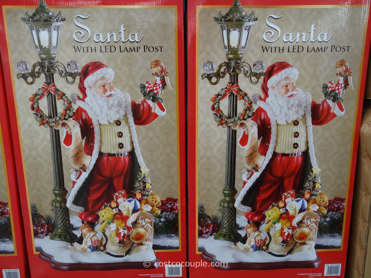 Santa With Led Lamp Post