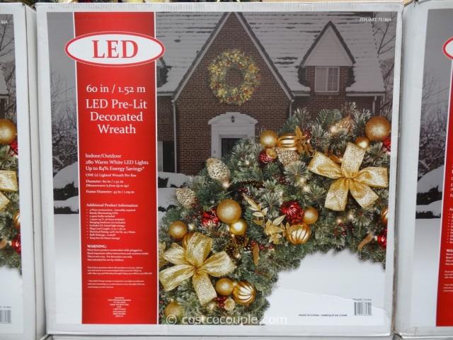 60Inch LED Prelit Decorated Wreath Costco 1