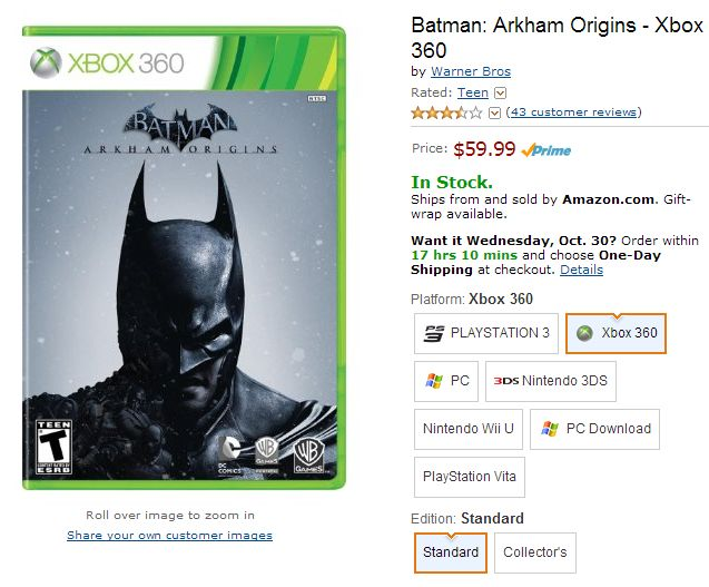 Batman Arkham Origins - Xbox 360 Amazon
