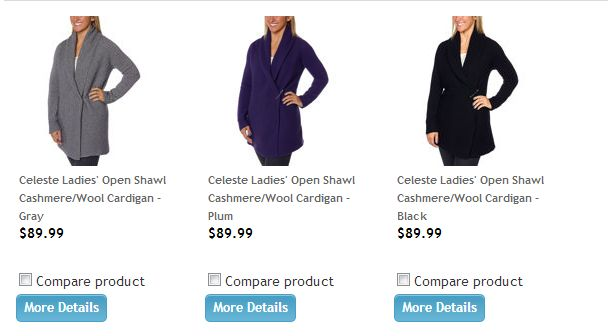 Celeste Ladies' Open Shawl Cashmere Wool Cardigan Costco 1