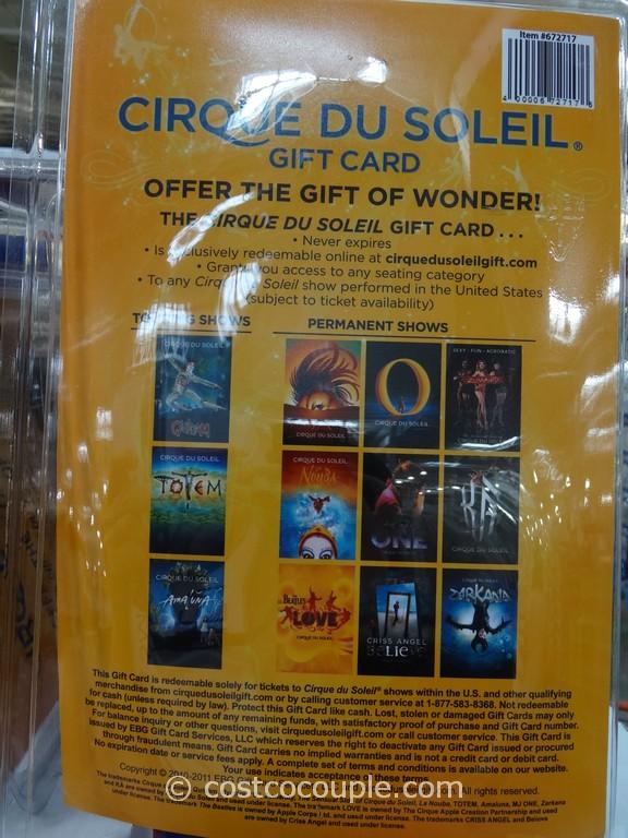 Gift Card Cirque Du Soleil Costco 2