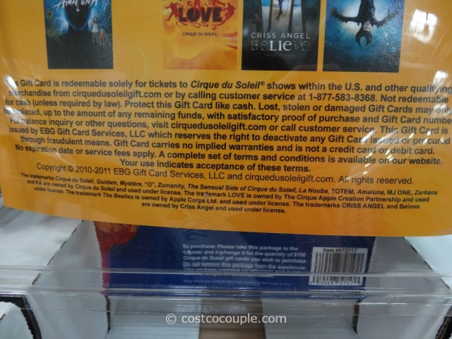 Gift Card Cirque Du Soleil Costco 3