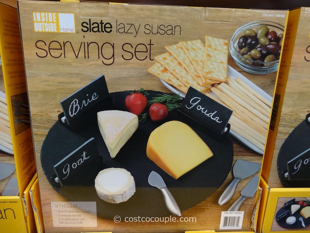 Inside Outside Home Lazy Susan Slate Serving Set Costco 4