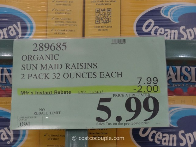 Organic Sun Maid Raisins Costco