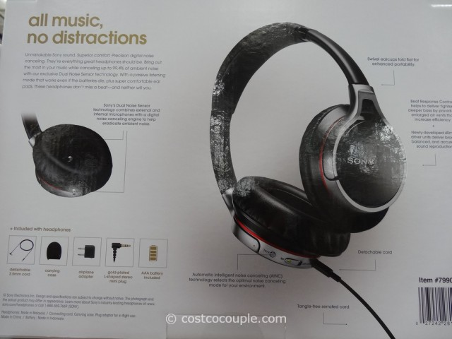 Sony Noise Cancelling Headphones MDR10RC Costco 3